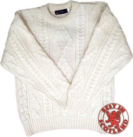Cream Wool Aran Jumpers - Jumper, Shirts and Jackets -  - Best In Scotland - 1