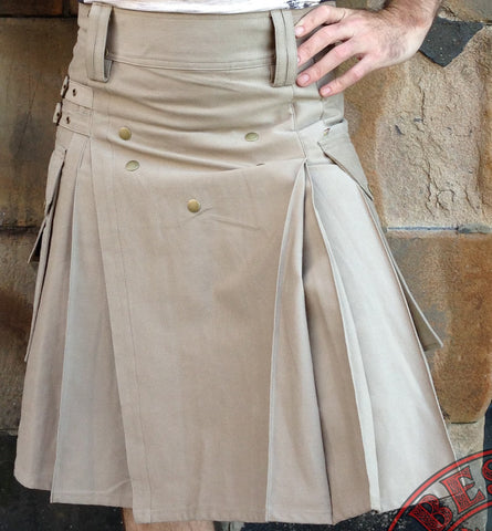 Mens' Snap Button Khaki Utility Kilt - Utility Kilts -  - Best In Scotland - 1