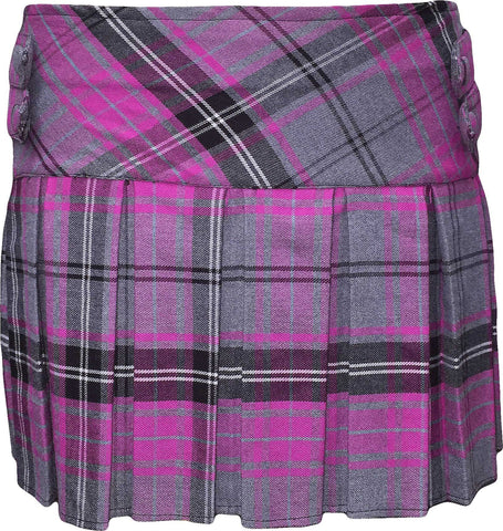 Pink and Grey Tartan Skirt With 4 Buttons - CLEARANCE - Skirts -  - Best In Scotland - 1