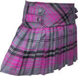 Pink and Grey Tartan Skirt With 4 Buttons - CLEARANCE - Skirts -  - Best In Scotland - 2
