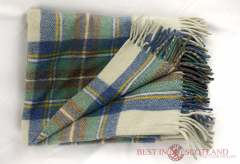 Wool Tartan Blanket: Camel Stewart - Throws -  - Best In Scotland