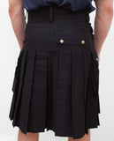 Mens' Snap Button Black Utility Kilt - Utility Kilts -  - Best In Scotland - 8
