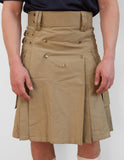 Mens' Snap Button Khaki Utility Kilt - Utility Kilts -  - Best In Scotland - 4