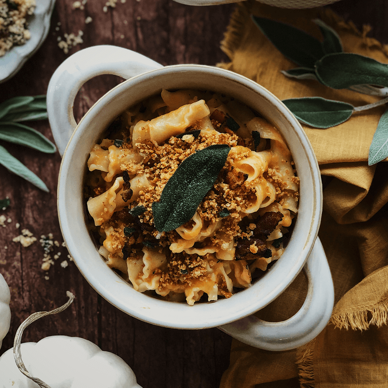 Bacon and Butternut Squash Mac-and-Cheese Topped with Fried Sage and Pork Panko
