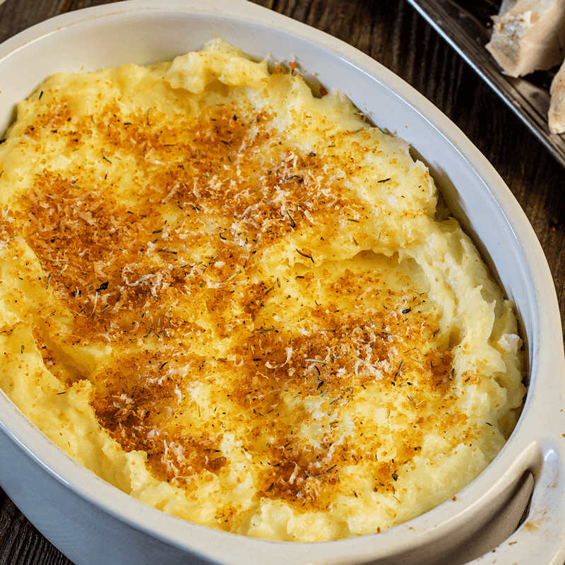Mashed Potatoes with Parmesan and Pork Panko