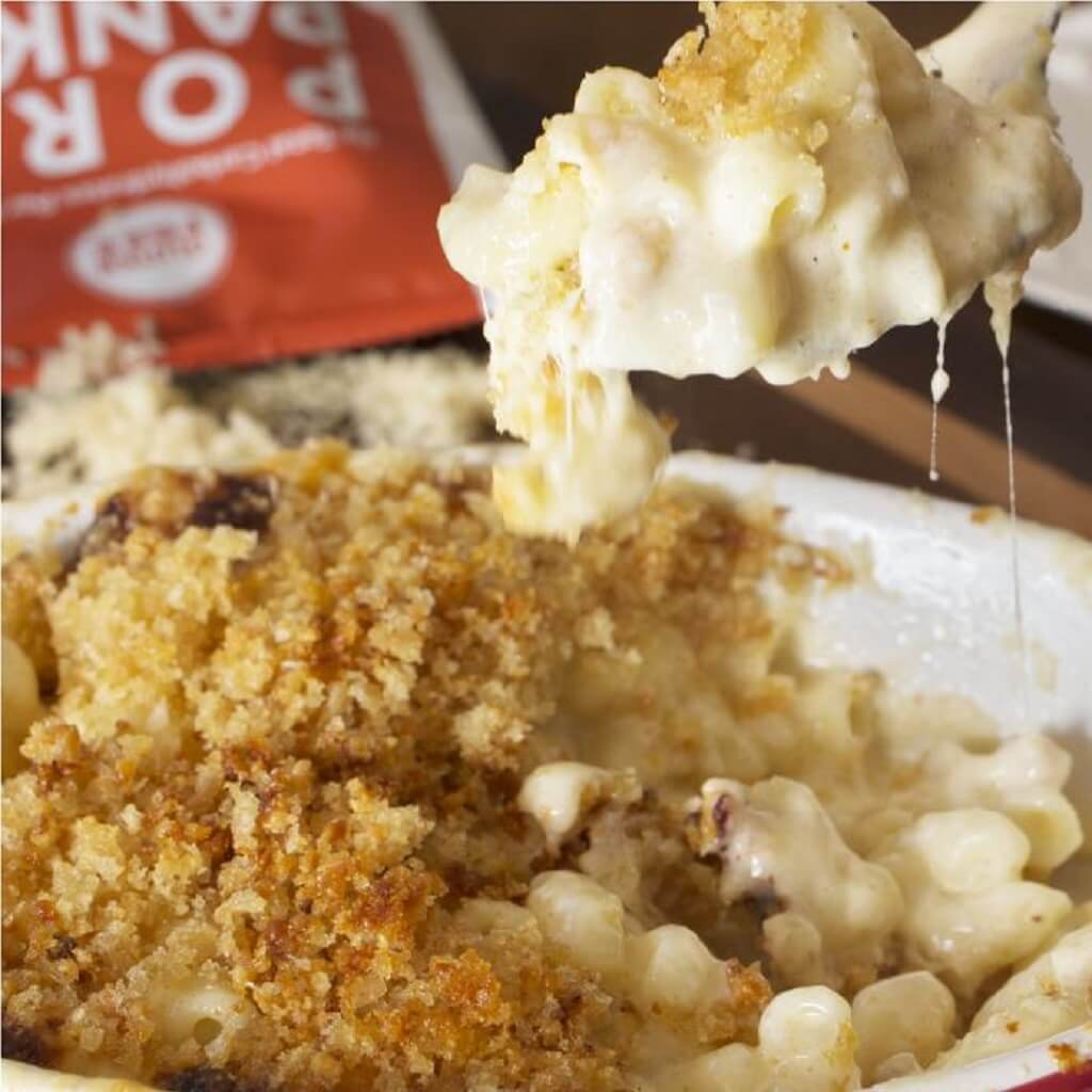 Creamy Mac N Cheese with Pork Panko'd Parmesan Topping