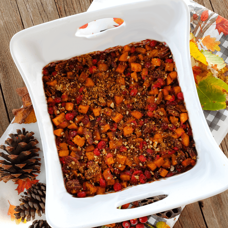 Bourbon Roasted Sweet Potatoes With Cranberry Almonds And Citrus Cinnamon Pork Panko