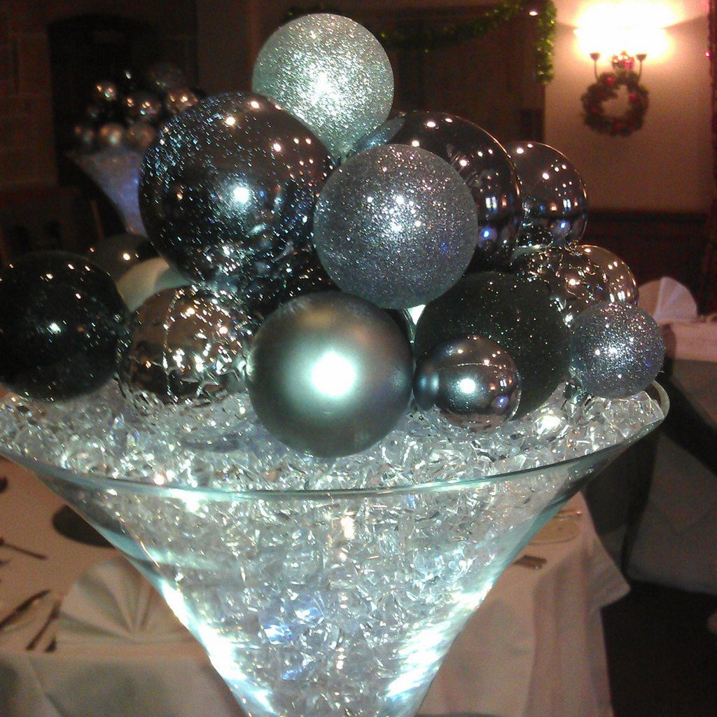 Martini glass black, silver and sparkly mix balls - Wedding Sparkle - wedding - event - hire