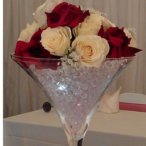 Martini glass red & cream rose - Wedding Sparkle - wedding - event - hire