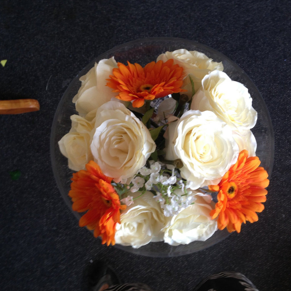 Martini glass orange gerbra & cream rose - Wedding Sparkle - wedding - event - hire