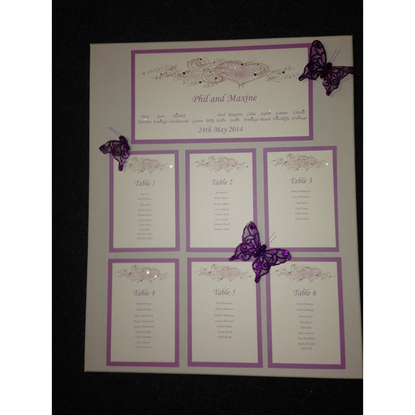 Table Plan Heart Design Purple - Wedding Sparkle - wedding - event - hire