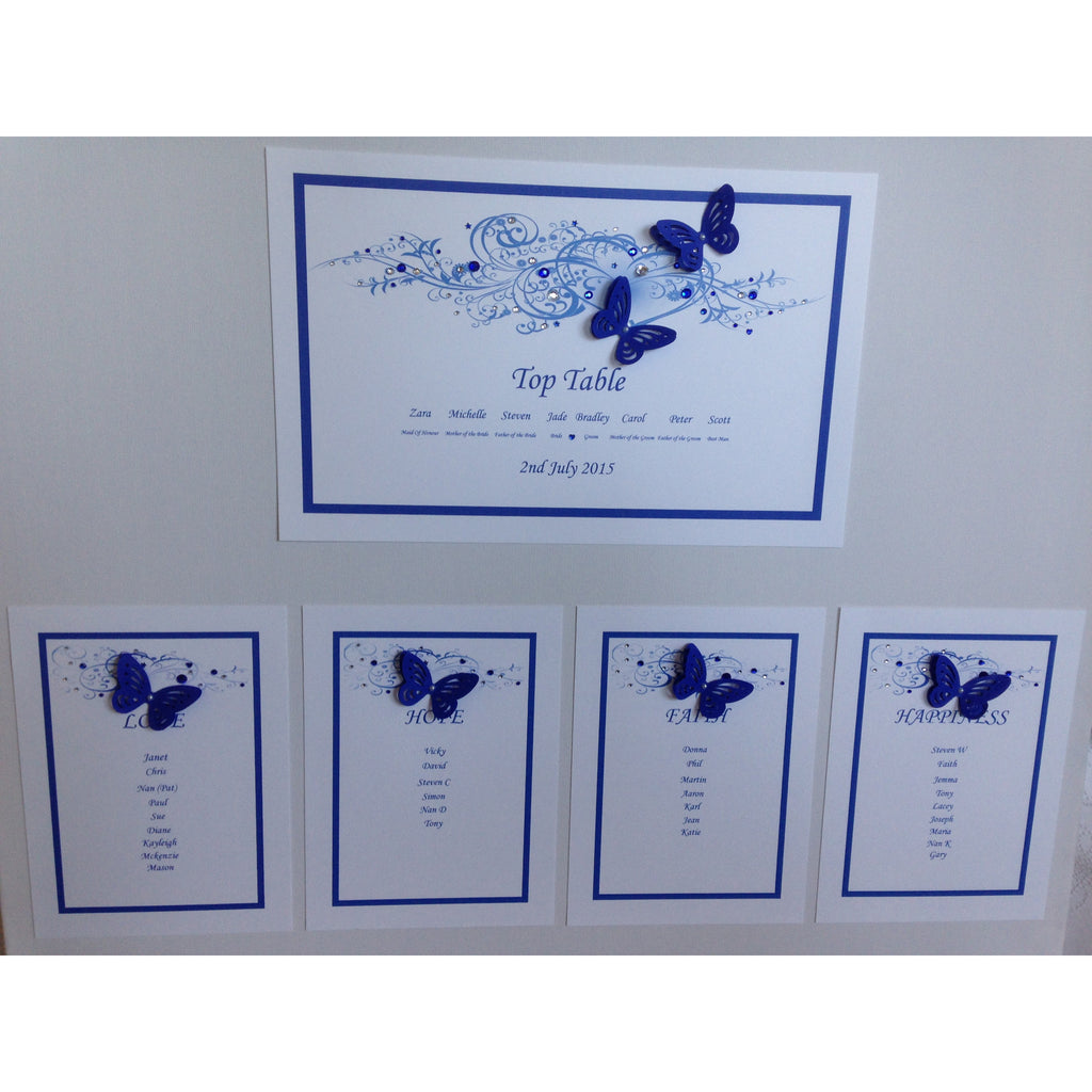 Table Plan Heart Design Electric / royal blue - Wedding Sparkle - wedding - event - hire