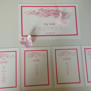Table Plan Heart Design Hot pink - Wedding Sparkle - wedding - event - hire