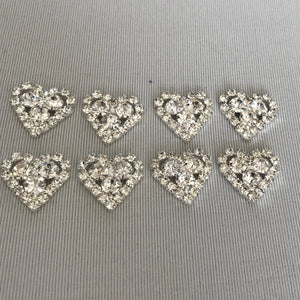 Diamante Heart  pack of 8