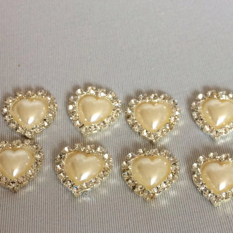 Diamante Heart Embellishments - pack of 8
