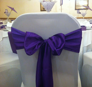 Cadbury purple satin sash collect and return hire