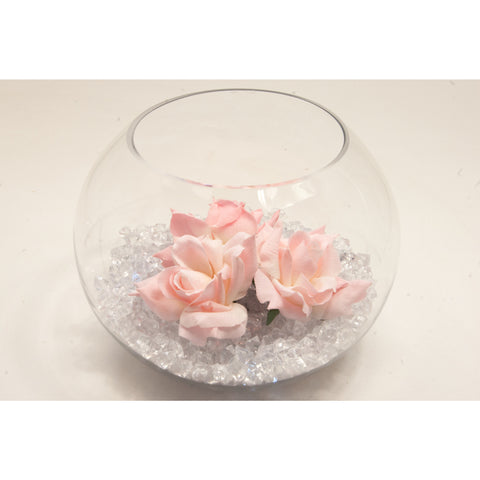 Fish bowl wedding centrepiece with Baby Pink Roses and choice of bear grass collect and return hire - Wedding Sparkle - wedding - event - hire