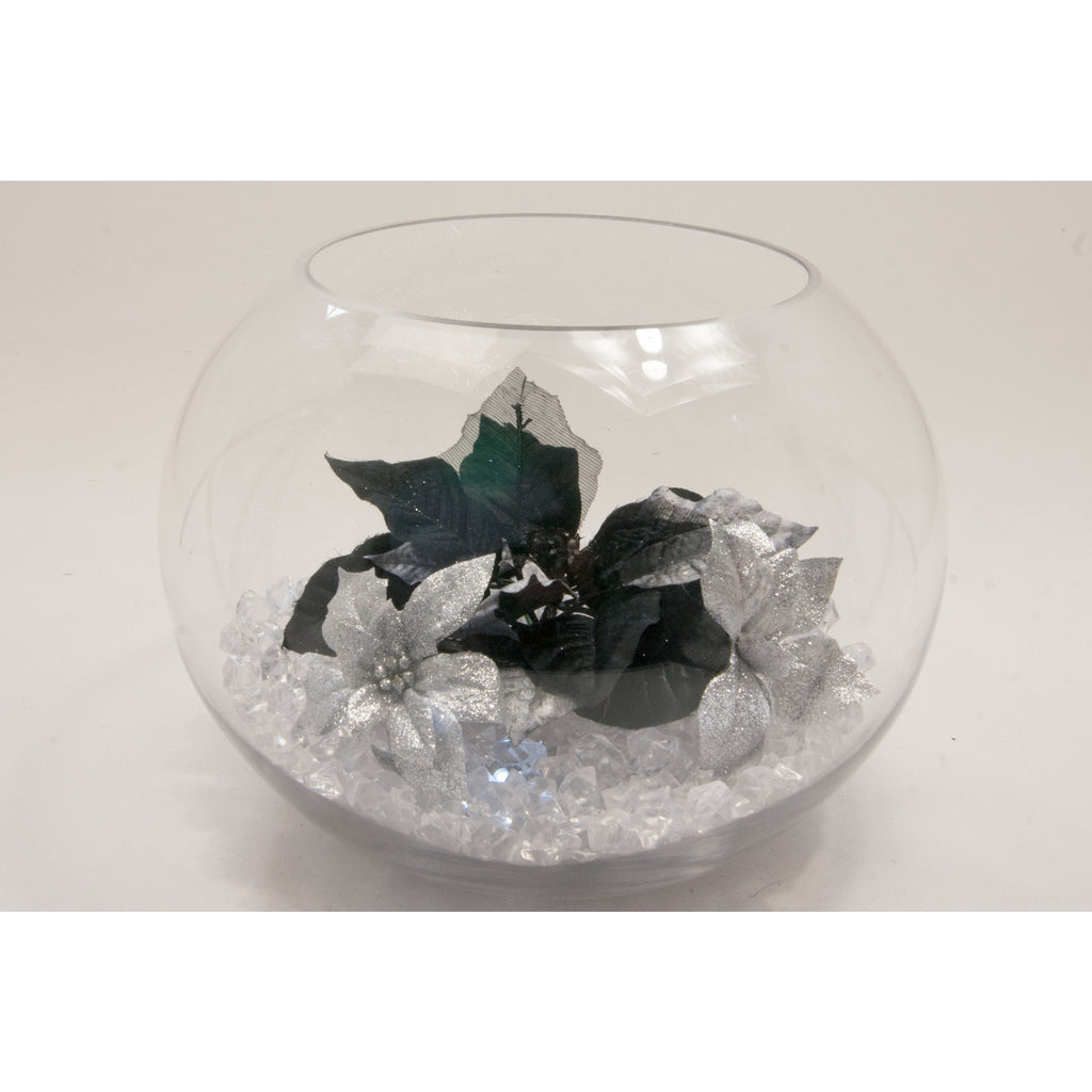 Fish bowl wedding centrepiece with Black & Silver poinsettia and choice of bear grass  collect and return hire - Wedding Sparkle - wedding - event - hire