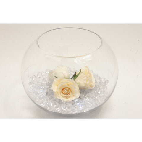 Fish bowl wedding centrepiece with Cream Roses and choice of bear grass - Wedding Sparkle - wedding - event - hire