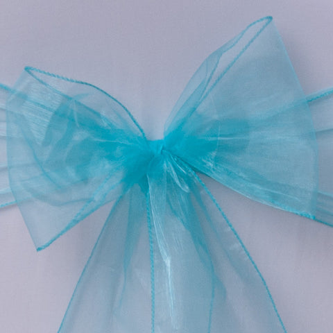 Chair cover with turquoise organza sash collect and return hire - Wedding Sparkle - wedding - event - hire