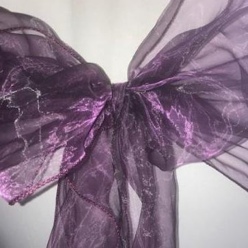 Cad Purple organza sash collect and return hire