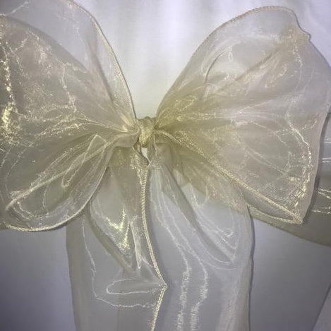Champagne gold organza sash collect and return hire