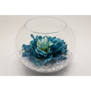 Fish bowl wedding centrepiece with Large Teal Flower and choice of bear grass - Wedding Sparkle - wedding - event - hire