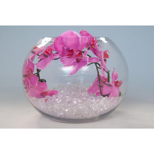 Fish bowl wedding centrepiece with pink orchids and choice of bear grass - Wedding Sparkle - wedding - event - hire