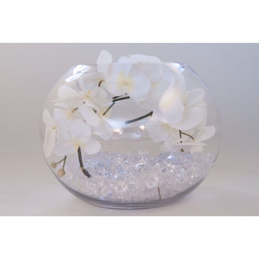 Fish bowl wedding centrepiece with white orchids - Wedding Sparkle - wedding - event - hire