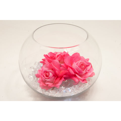Fish bowl wedding centrepiece with Open Hot Pink Roses and choice of bear grass - Wedding Sparkle - wedding - event - hire
