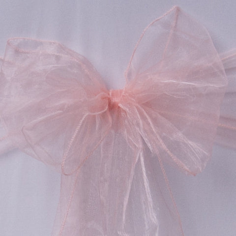 Chair cover with Peach organza sash collect and return hire - Wedding Sparkle - wedding - event - hire