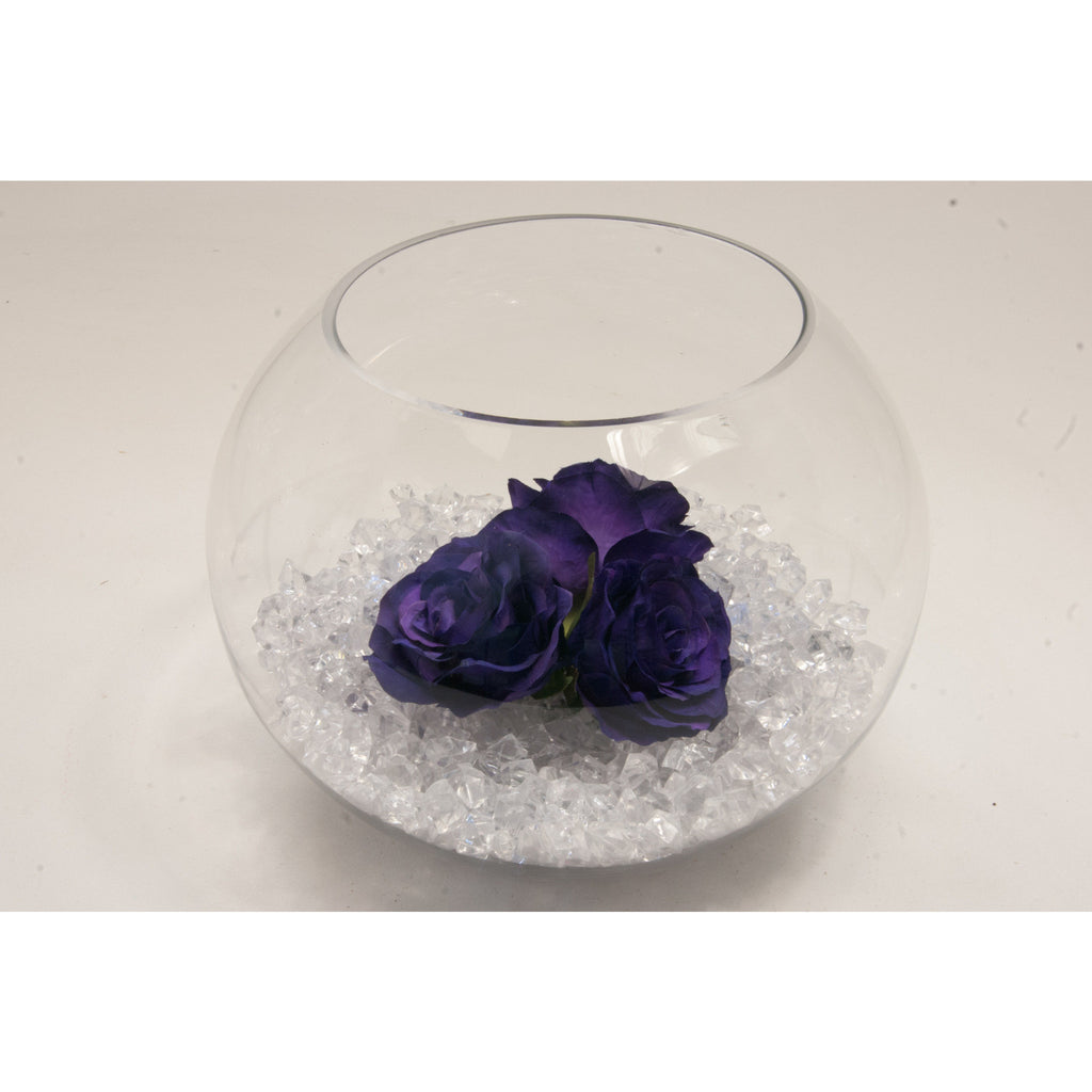 Fish bowl wedding centrepiece with Purple Roses and choice of bear grass - Wedding Sparkle - wedding - event - hire