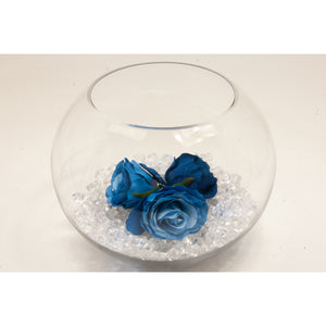 Fish bowl wedding centrepiece with Royal Blue Roses and choice of bear grass