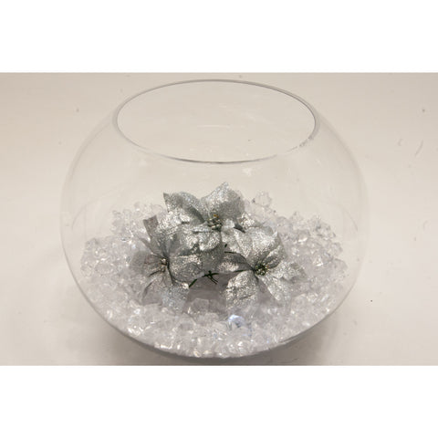 Fish bowl wedding centrepiece with Silver ponsettia and choice of bear grass