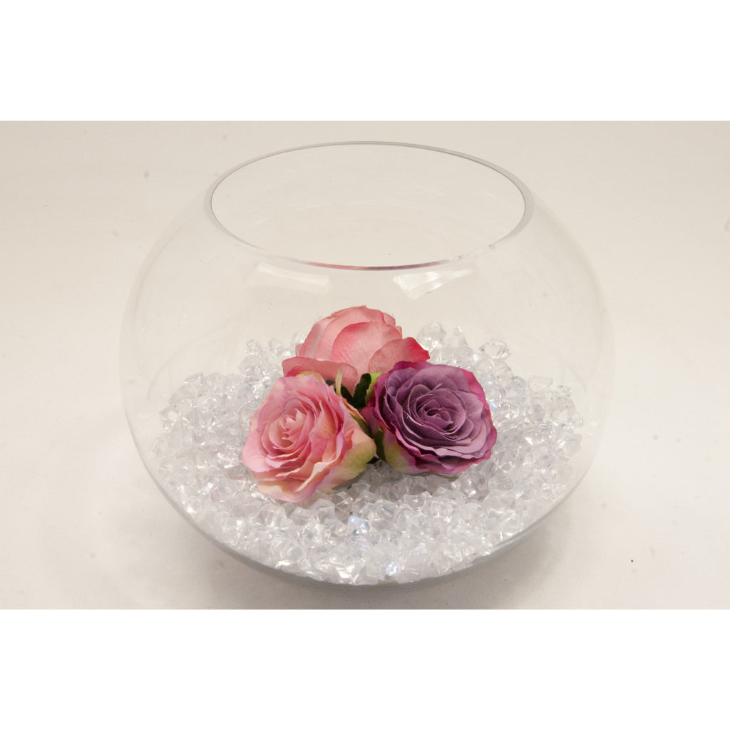 Fish bowl wedding centrepiece with Vintage Pink Roses and choice of bear grass - Wedding Sparkle - wedding - event - hire