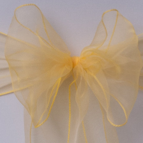 Chair cover with yellow organza sash collect and return hire - Wedding Sparkle - wedding - event - hire