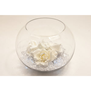 Fish bowl wedding centrepiece with White Rose and choice of bear grass - Wedding Sparkle - wedding - event - hire