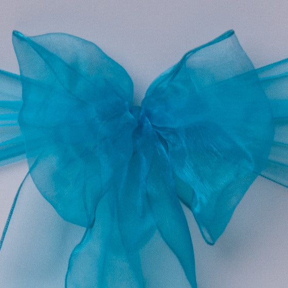 Chair cover with aqua blue organza sash collect and return hire - Wedding Sparkle - wedding - event - hire
