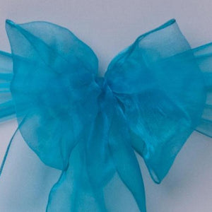 Aqua blue organza sash collect and return hire - Wedding Sparkle