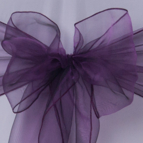 Chair cover with aubergine organza sash collect and return hire - Wedding Sparkle - wedding - event - hire