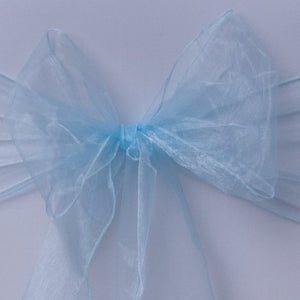 Baby blue organza sash collect and return hire - Wedding Sparkle