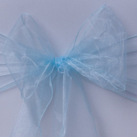 Chair cover with baby blue organza sash collect and return hire - Wedding Sparkle - wedding - event - hire