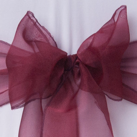 Chair cover with burgundy organza sash collect and return hire - Wedding Sparkle - wedding - event - hire