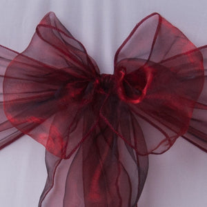 Chair cover with burgundy shiny organza sash collect and return hire - Wedding Sparkle - wedding - event - hire