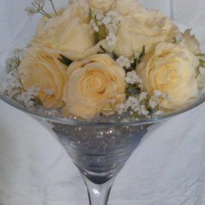 Martini glass cream rose - Wedding Sparkle - wedding - event - hire