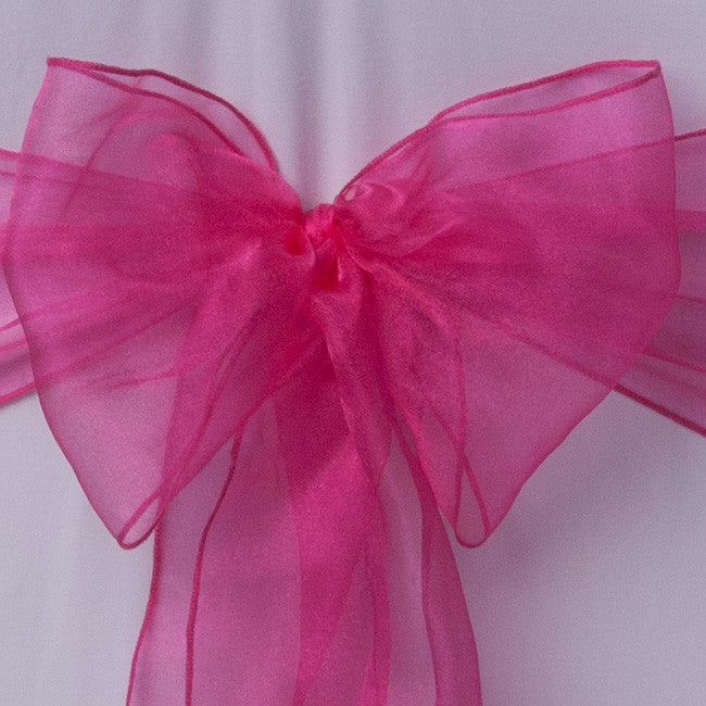 Chair cover with Hot Pink Shimmer organza sash collect and return hire - Wedding Sparkle - wedding - event - hire