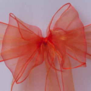 Chair cover with orange organza sash collect and return hire - Wedding Sparkle - wedding - event - hire