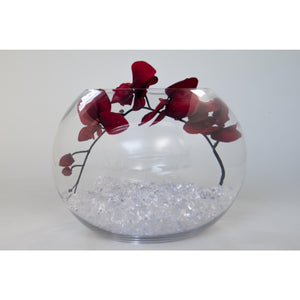 Fish bowl with red orchids - Wedding Sparkle - wedding - event - hire