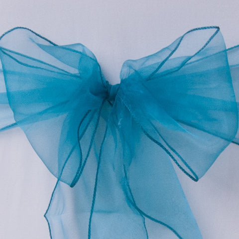 Chair cover with teal organza sash collect and return hire - Wedding Sparkle - wedding - event - hire