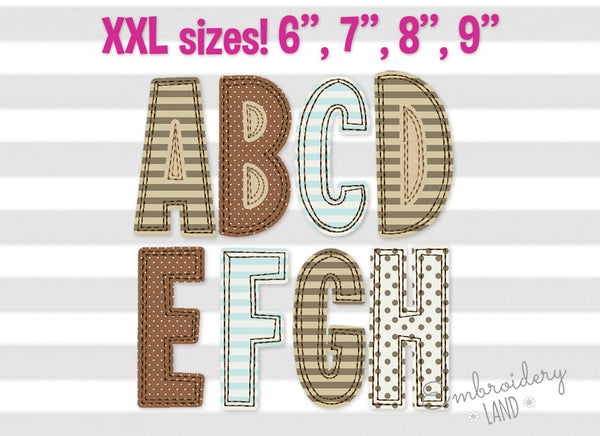 "6"", 7"", 8"", 9"" sizes Narrow Free Edge Raggy Applique Alphabet AL065"